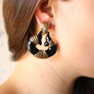 VINTAGE black + gold earrings
